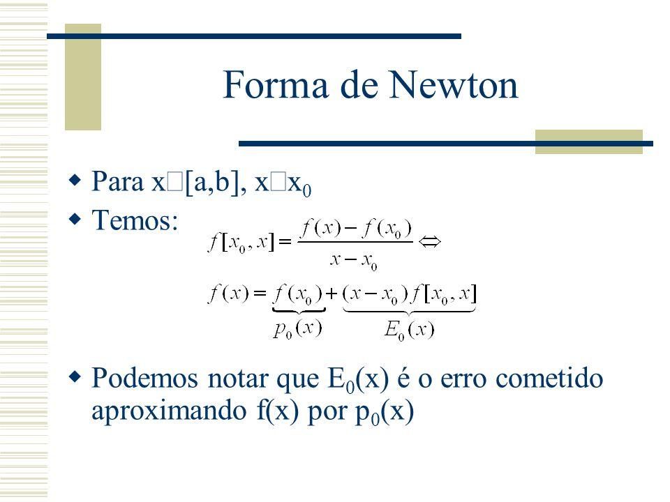 Forma de Newton Para xÎ[a,b], x¹x0 Temos: